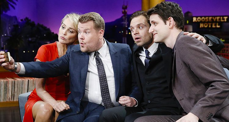 Sebastian Talks 'Civil War', Flirts with Sharon Stone on The Late Late Show with James Corden