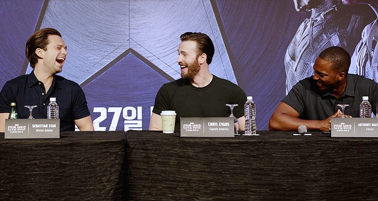 Sebastian Attends Korean Press Conference & Photocall for 'Civil War'